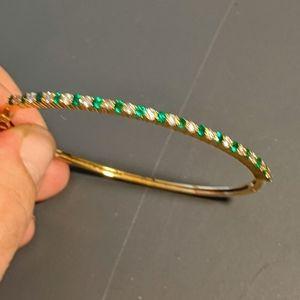 14k natural emerald and diamond bangle bracelet